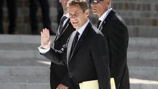 El presidente de Francia, Nicolás Sarkozy, llega a un encuentro de trabajo.  Foto: EFE