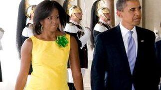 El matrimonio Obama a su llegada al Palacio del Quirinale, en Roma.  Foto: EFE
