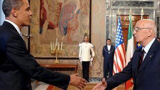 El presidente de Italia, Giorgio Napolitano, se ha reunido con el presidente estadounidense Barack Obama.  Foto: EFE