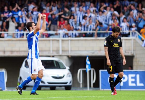 El Barcelona 'pincha' por primera vez en la temporada ante la Real Sociedad. / AFP