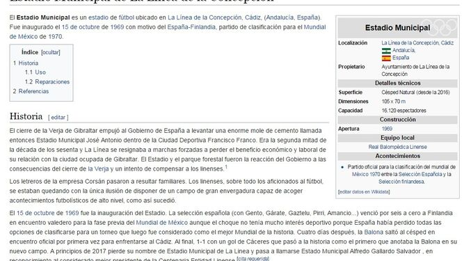 Captura de Wikipedia, en la que se lee que a comienzos de 2017 el Municipal pasó a llamarse Alfredo Gallardo.