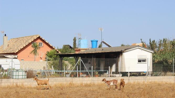 La casa ubicada en El Palmar en la que se produjo el incendio, ayer tras el siniestro.