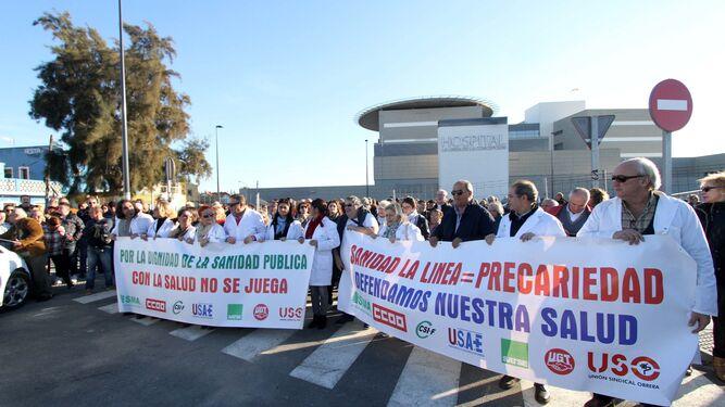 La manifestación que tuvo lugar el pasado mes de diciembre en La Línea.
