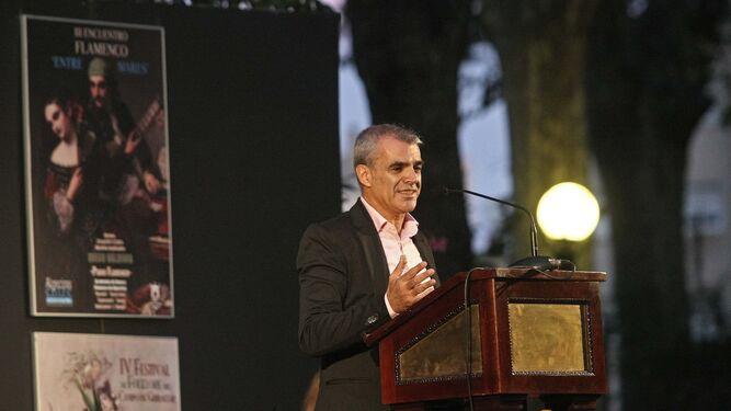 Miguel Vega, ayer durante su pregón de Algeciras Entremares.