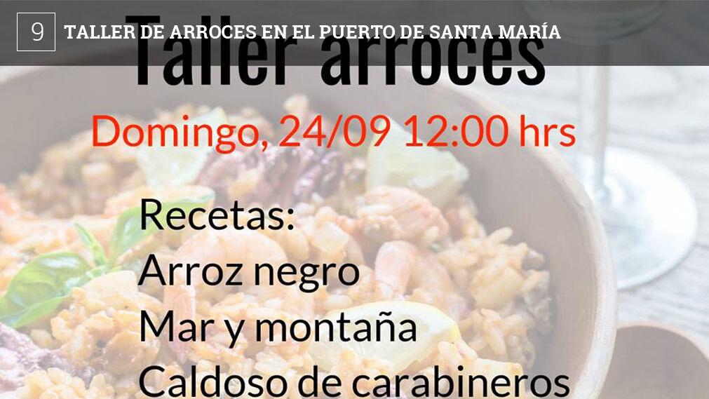 El espacio gastronómico Corazones Hambrientos, situado en la avenida de Fuentebravía, frente al centro comercial de Vistas Hermosa,  ha organizado un taller de de arroces para el domingo 24 de septiembre, a las 12:00 horas. Las recetas son las de arroz negro, mar y montaña y caldoso de carabineros. El precio por persona es de 37 euros. Reservas en el 956876015. El final de fiesta del taller es que los cursillistas comerán los arroces que se elaboren.