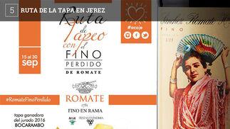 El centro de Jerez acoge estos días también una ruta de la tapa. En este caso son 23 los establecimientos participantes, la mayoría del centro de la ciudad. El evento, que tiene lugar en el marco de la fiestas de la Vendimia, consiste en que cada sitio ofrecerá una tapa que se propone acompañar con fino Pérdido de las bodegas Sánchez Romate, que organiza el evento en colaboración con la Asociación de Comerciantes Centro Comercial Abierto de Jerez.