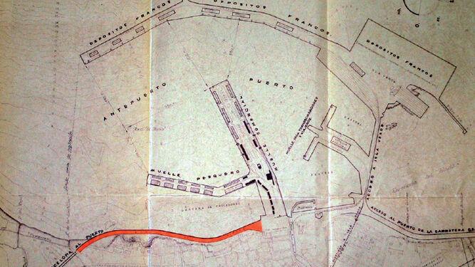 Plano perteneciente al proyecto del tercer reformado del Muro de Ribera (5 de mayo de 1950).