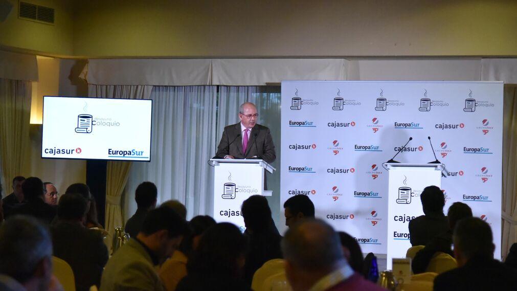 El presidente de la Confederación de Empresarios de Cádiz,Javier Sánchez Rojas, durante su intervención.