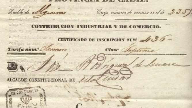 Extracto del pago de la contribución del sangrador Juan González.