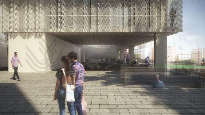 Una recreación del exterior de la nueva biblioteca.