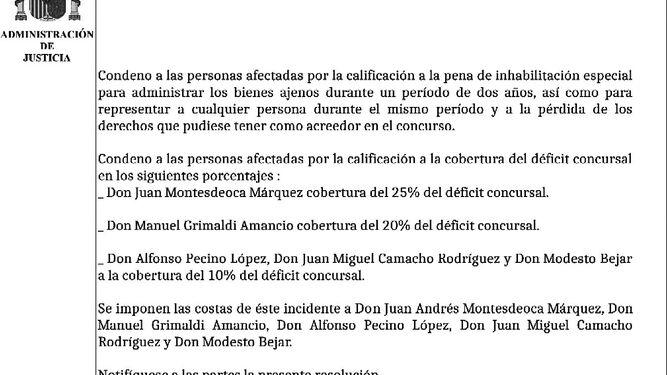 El folio con el fallo del Juzgado de lo Mercantil número 1 de Cádiz.