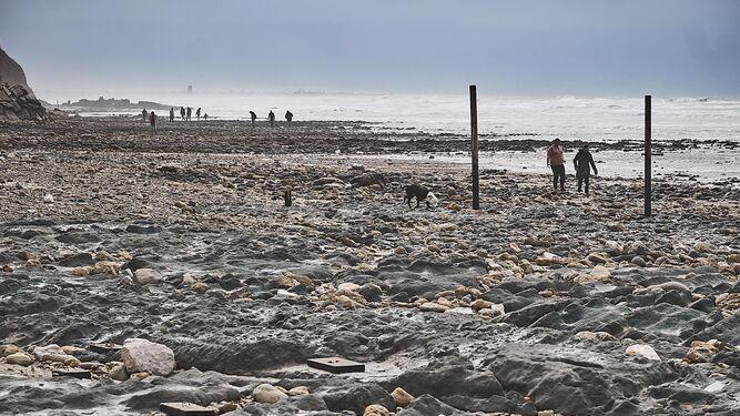 Esta imagen presentaba en la mañana de ayer la playa conileña de La Fuente del Gallo, prácticamente convertida en un pedregal.