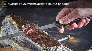 El wagyu es una raza de vacuno originaria de Japón cuyo uso cada vez está más extendido. No se trata de un jamón como el del cerdo, es más bien una cecina.En Arsenio lo sirven en tablas con unos 50 gramos de producto, a unos doce euros.