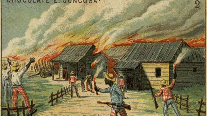 Los insurrectos prenden fuego a un poblado. Estampade Chocolates Juncosa.