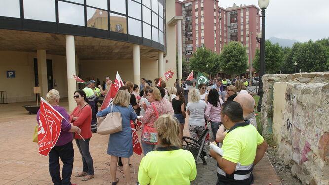 Trabajadores municipales durante una protesta sindical.