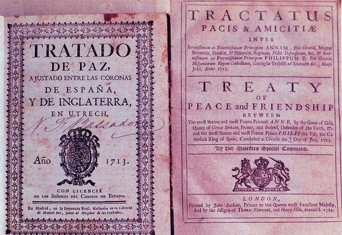 Las versiones en español e inglés del Tratado de Utrecht.