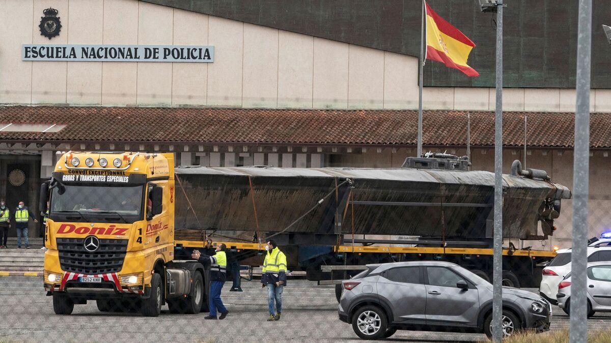 El primer narcosubmarino interceptado en aguas europeas, tras su traslado a Ávila el pasado febrero.