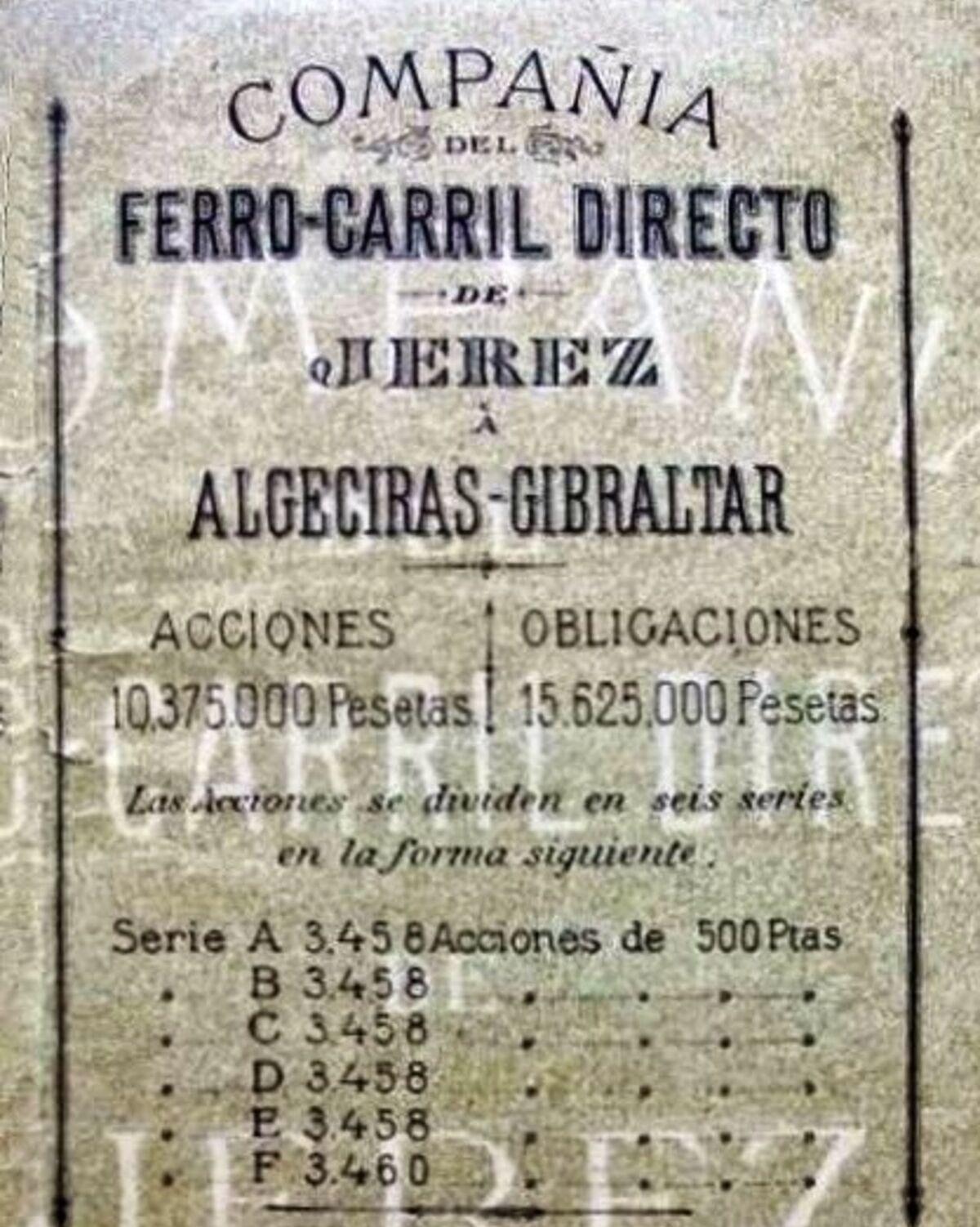 El anuncio de venta de acciones de la Compañía del ferrocarril de Jerez a Algeciras-Gibraltar.